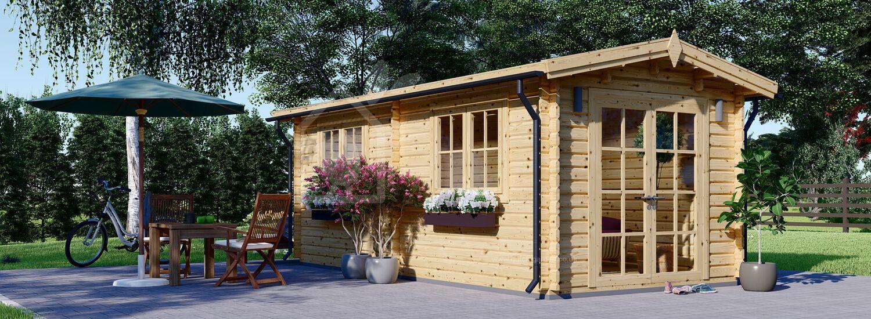 Garden Log Cabin STRONGHOLD (44+44 mm + Insulation), 3x6 m (10'x20'), 18 m² visualization 1