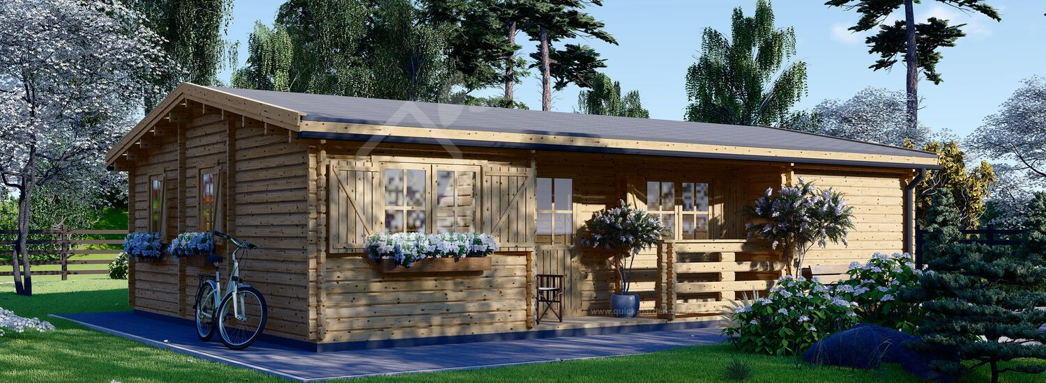 Residential Log Cabin UZES 10.2m x 7m (34x23 ft) 44 mm visualization 1