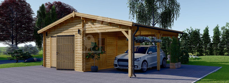 Single Wooden Garage With Carport (44 mm) 7x6 m (23'x20') visualization 1