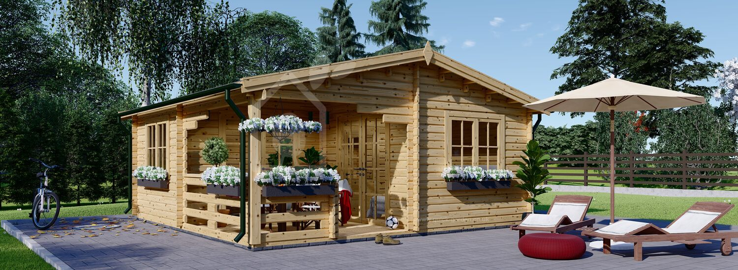 Log Cabin OLIVIA (44+44 mm + Insulation), 6x6 m (20'x20'), 27 m² With 8 m² Terrace visualization 1