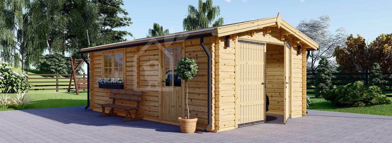 Single Wooden Garage 4m x 6m (13x20 ft) 44 mm visualization 1