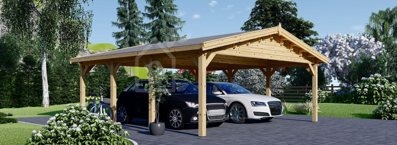 Double Wooden Carport CLASSIC 6x6 m (20'x20') visualization 1