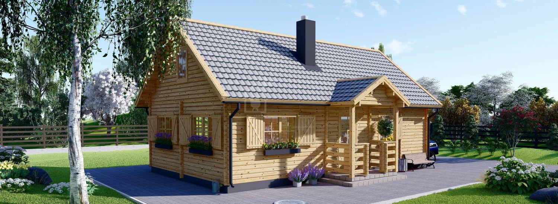Log Cabin House EMMA (44+44 mm + Insulation), 70 m² visualization 1