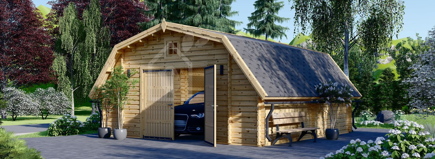 Single Wooden Garage TEXAS 6m x 6m (20x20 ft) 44 mm visualization 1