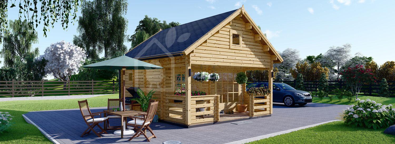 Log Cabin ALBI (44 mm), 5.6x5m (18'x16'), 20 m² With 8 m² Terrace visualization 1