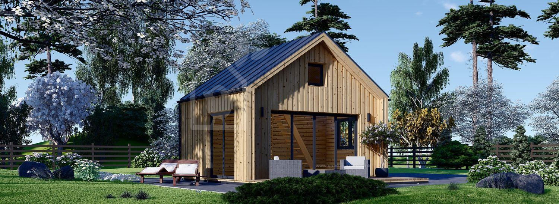 Log Cabin SARA With Loft (Insulated, 44 mm + Cladding), 20 m² visualization 1