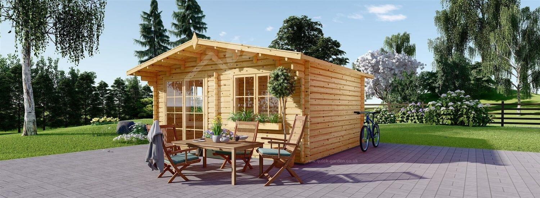 Log Cabin WISSOUS (34 mm), 5x5 m (16'x16'), 25 m² visualization 1