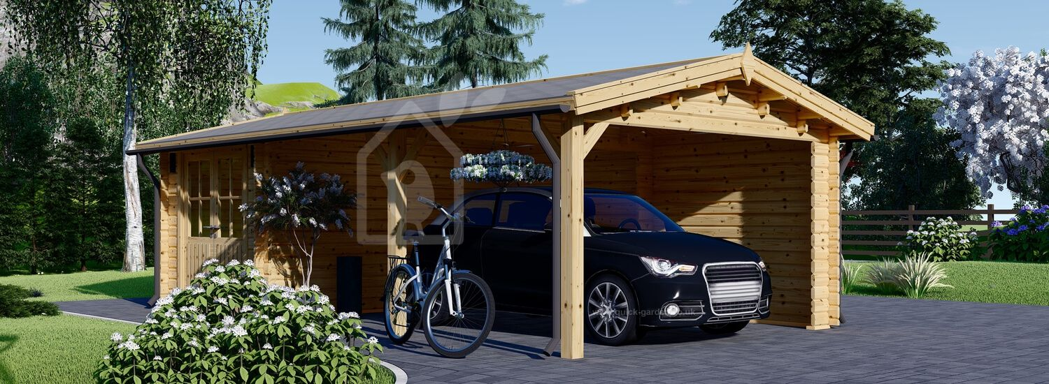 Single Wooden Carport With Shed 4x7.5 m (13x24 ft), 44 mm visualization 1