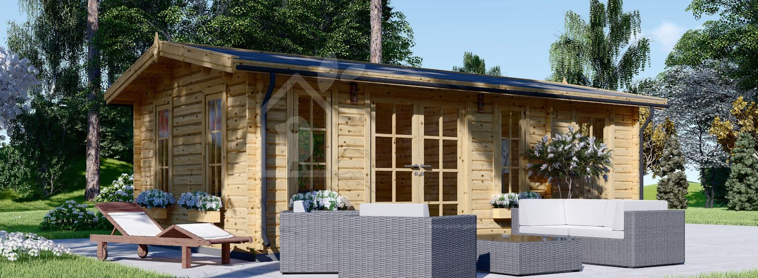 Garden Log Cabin With Shed Attached JEANNIE (44 mm), 7x4 m (23'x13'), 28 m²  visualization 1