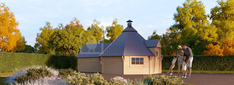 BBQ Hut With Extension 4.5m x 6.4m (15x21 ft) 44 mm 16.5 m² visualization 1