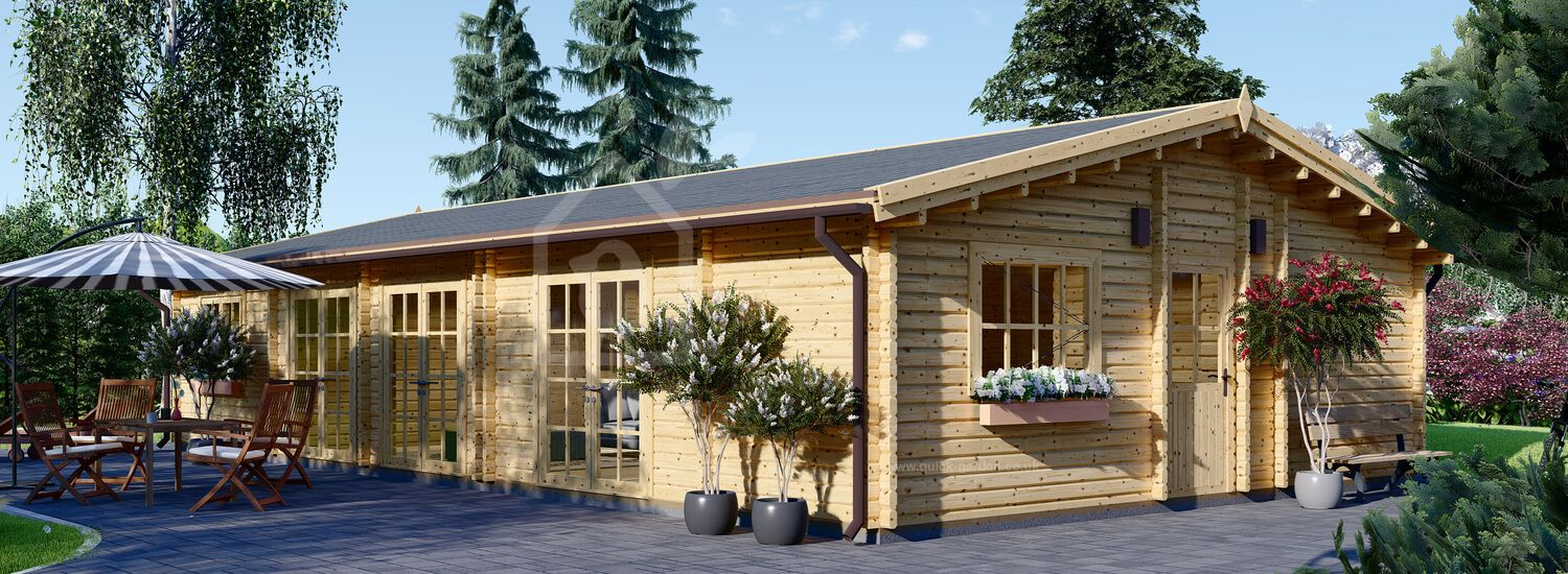 Insulated Log Cabin House JULIA 13.6m x 7.6m (45x25 ft) Building Reg Friendly visualization 1
