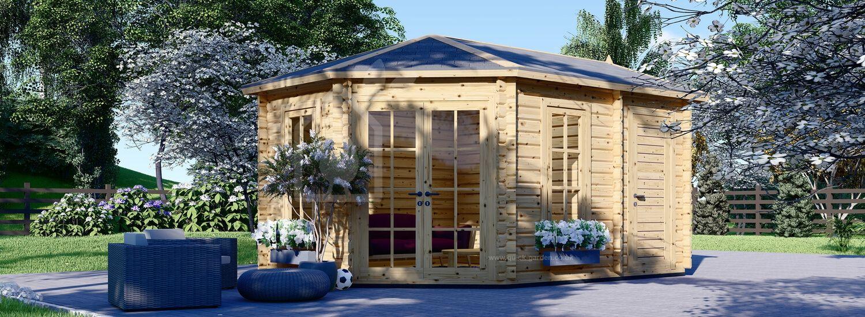 Garden Log Cabin KIM (44 mm), 5x3 m (16'x10'), 15 m² visualization 1