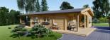 Log Cabin House LINDA 8m x 12m (26x40 ft) 66 mm visualization 2
