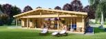 Log Cabin House RIVIERA 13m x 9m (43x30 ft) 66 mm visualization 3