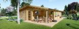 Log Cabin House LINDA 8m x 12m (26x40 ft) 66 mm visualization 4