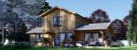 Log Cabin House HOLLAND PLUS 13.5m x 8.5m (44x28 ft) 66 mm visualization 2