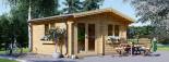 Insulated log cabin WISSOUS 5m x 5m (17' x 17') TwinSkin visualization 1
