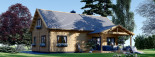 Log Cabin House VERA 11.9m x 9.7m (39x32 ft) 66 mm visualization 3
