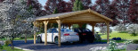 Double Wooden Carport CLASSIC 6m x 6m (20x20 ft) visualization 4