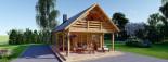 Insulated Log Cabin House AURA 6m x 12m (20x40 ft) Twin Skin visualization 3