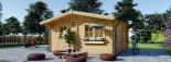Insulated Log Cabin NINA 5m x 5m (16x16 ft) Twin Skin visualization 3