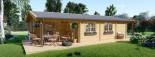 Log Cabin House LINDA 8m x 12m (26x40 ft) 66 mm visualization 3