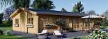 Insulated Log Cabin House JULIA 13.6m x 7.6m (45x25 ft) Twin Skin visualization 4