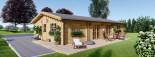 Log Cabin House LIMOGES 7.6m x 13.6m (25x45 ft) 66 mm visualization 2