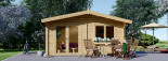 Insulated log cabin WISSOUS 5m x 5m (17' x 17') TwinSkin visualization 3