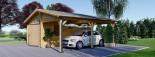 Single Wooden Garage with Carport 7m x 6m (23x20 ft) 44 mm visualization 2