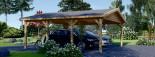 Double Wooden Carport CLASSIC 6m x 6m (20x20 ft) visualization 2