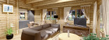 Log Cabin House LINDA 8m x 12m (26x40 ft) 66 mm visualization 9