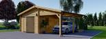 Single Wooden Garage with Carport 7m x 6m (23x20 ft) 44 mm visualization 1
