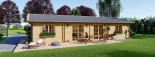 Insulated Log Cabin House LIMOGES 7.6m x 13.6m (25x45 ft) Twin Skin visualization 3