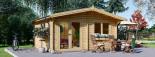 Insulated log cabin WISSOUS 5m x 5m (17' x 17') TwinSkin visualization 2