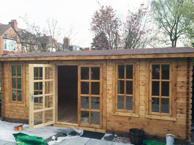 Garden office Devon 6m x 4m 20ft by 13ft 44mm double glazed