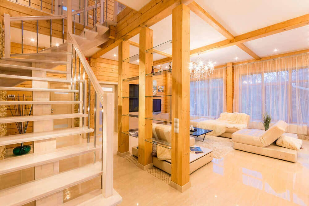 residential-log-cabin-stairs