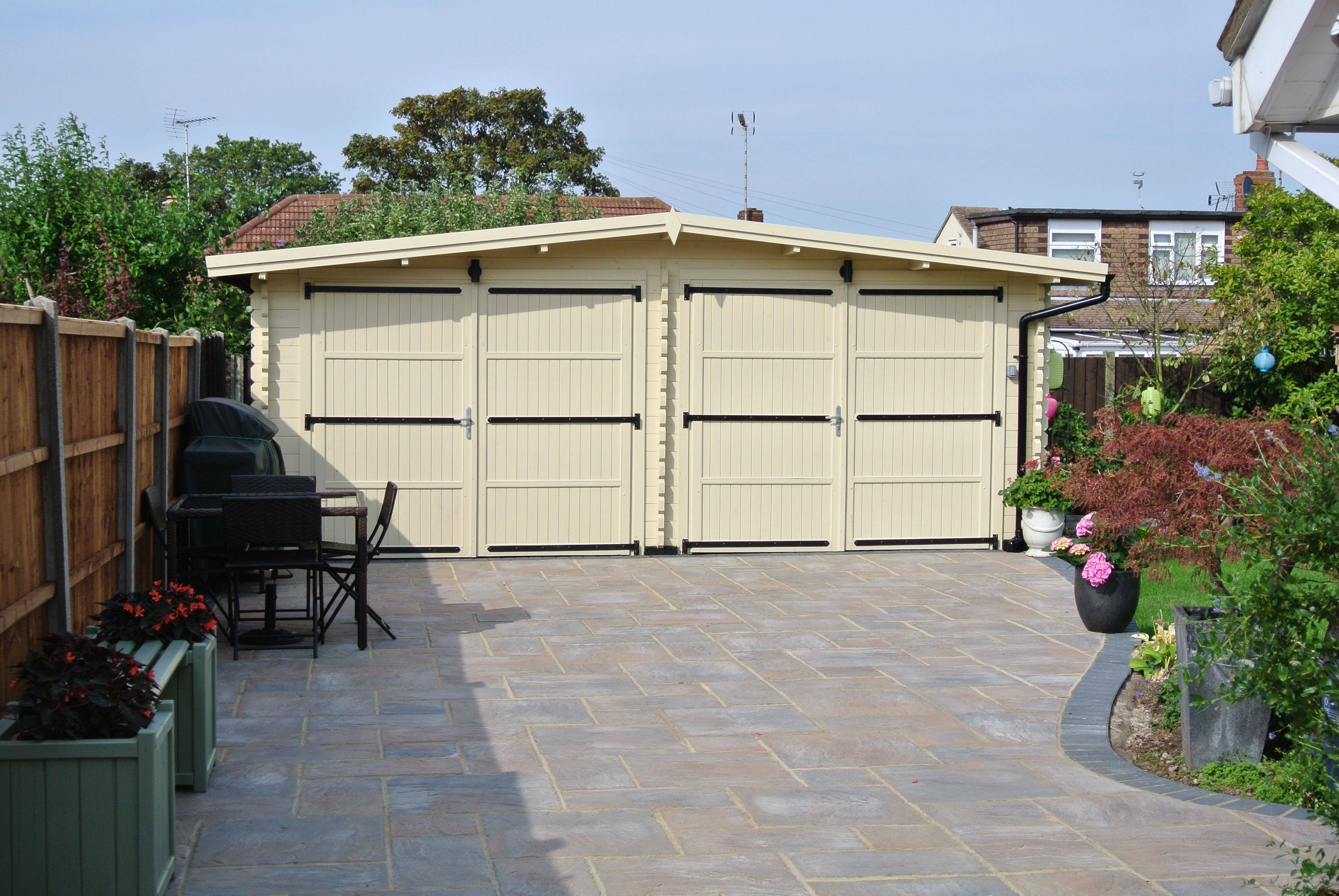 wooden garage and its surroundings