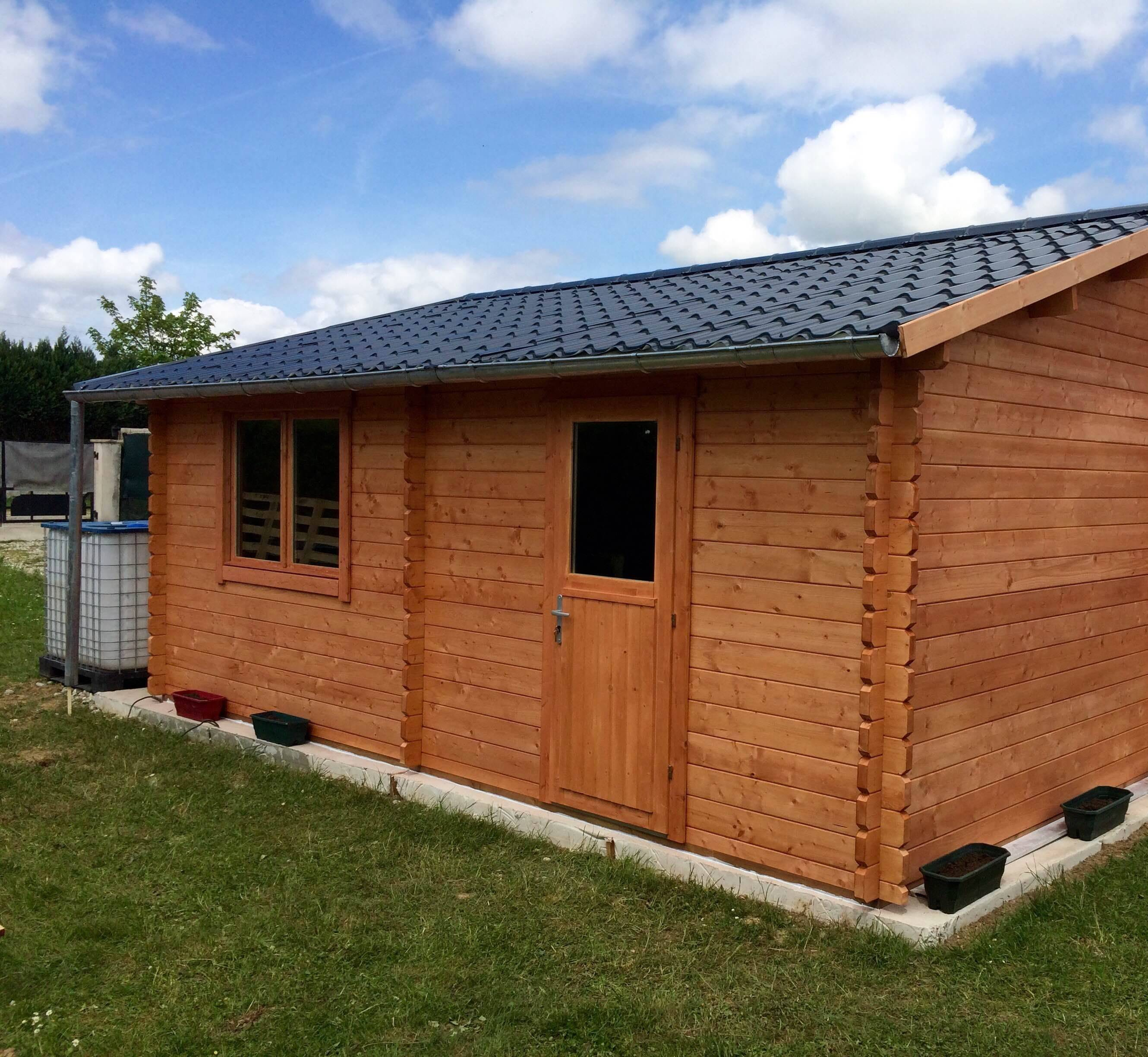 Wooden garage 6m x 6m 44mm (2)